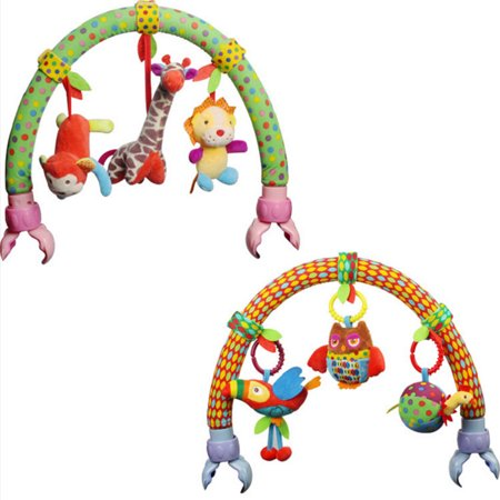 Cute Forest Cloth Animal Birds Toys Baby Travel Play Arch Activity Bar for Stroller Pram Crib Specification:Forest animals - image 3 de 6