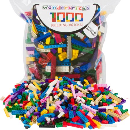 Building Bricks - 1000 Pc Bulk Blocks - Includes 60 Roof Pieces - Tight Fit with Major (Building Roof)