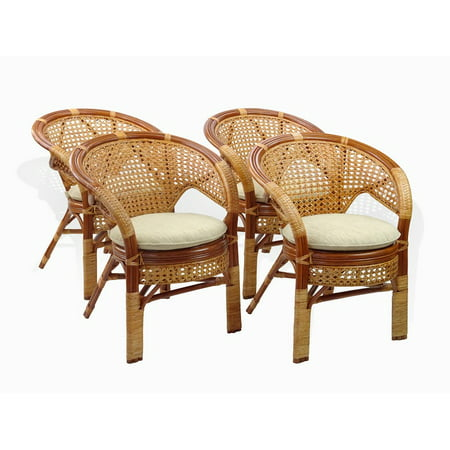 Natural Rattan - SK New Interiors Set of 4 Pelangi ECO Natural Rattan Wicker Dining Armchairs Handmade Design, Colonial