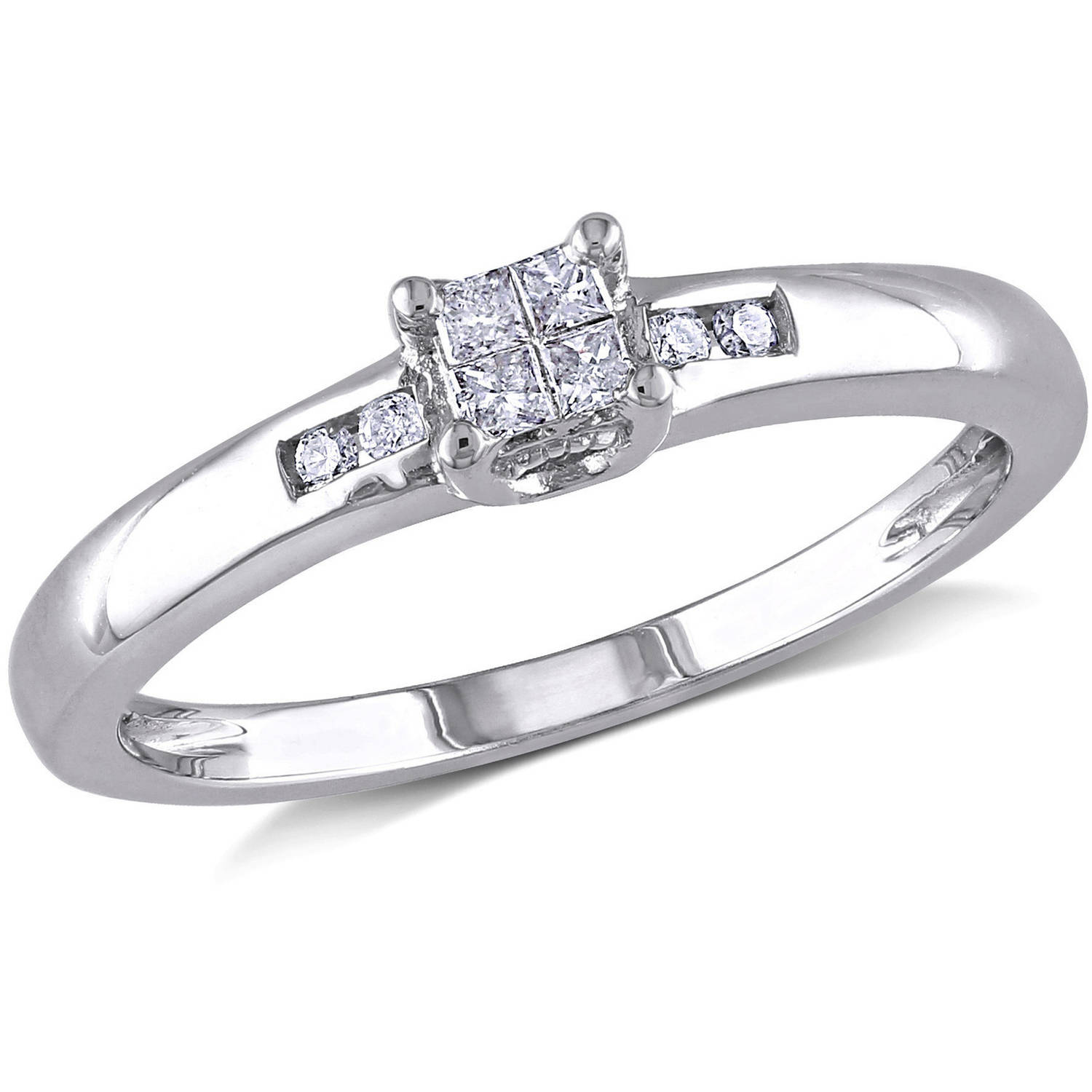Miabella 1/8 Carat T.W. Princess and Round-Cut Diamond Sterling Silver Engagement Ring
