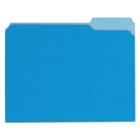Cut File Folder Letter - File Folders, 1/3 Cut One-Ply Top Tab, Letter, Blue/Light Blue, 100/Box -UNV10501