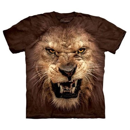 - Brown 100% Cotton Big Face Roaring Lion T-Shirt