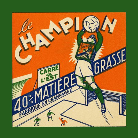 Vintage French label to a tin of Foie gras showing a futballer in goal and making a save  Foie gras is a luxury food product made of the liver of a duck or goose that has been specially fattened Poste