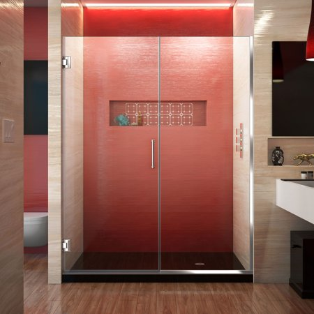 - DreamLine Unidoor Plus 54-54 1/2 in. W x 72 in. H Frameless Hinged Shower Door, Clear Glass, Chrome