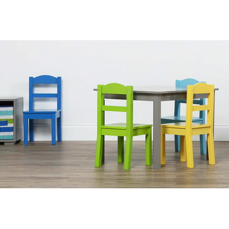 5pc Elements Kids Wood Table and 4 Chairs Set Gray - Humble Crew