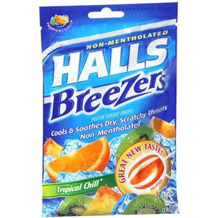 Halls Breezers Drops Tropical Chill 25 Each  Pack Of 3