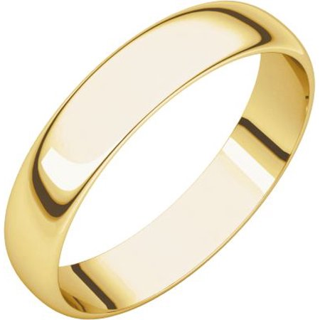 14K Yellow Gold 4 mm Half Round Ultra-Light Wedding Band Ring Size 6 for Womens
