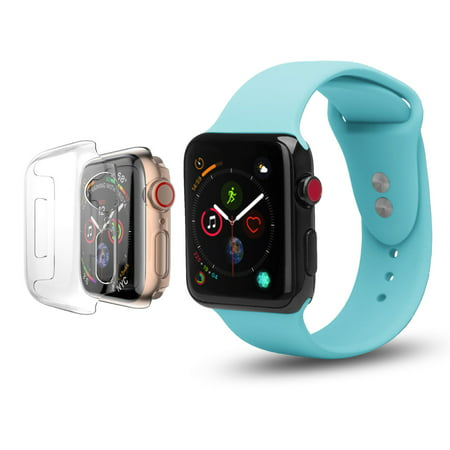 Apple Watch Replacement Bands 38mm w/Full Body Clear Hard Case Screen Protector, Soft Silicone Wristband for iWatch Apple Watch Series 1/2/3/Nike+ - Baby Blue - image 4 of 4