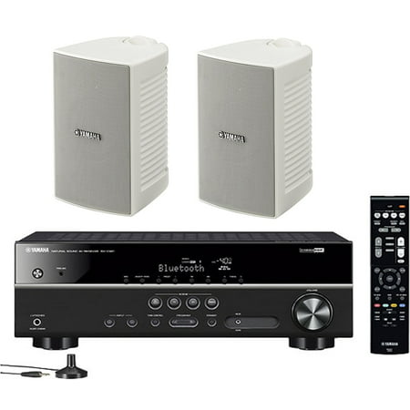 Yamaha 5.1-Channel Wireless Bluetooth 4K A/V Home Theater Receiver + Yamaha Natural Sound High performance 2-Way Indoor/Outdoor Weatherproof Speakers (Pair) ()