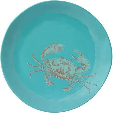 Merritt - Melamine Round Salad Plate - Embossed Sea Life Crab - 8.5