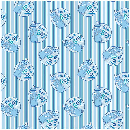It's a Boy Baby Shower Wrapping Paper, 5 x 2.5 ft, Blue, 1ct - Camouflage Wrapping Paper
