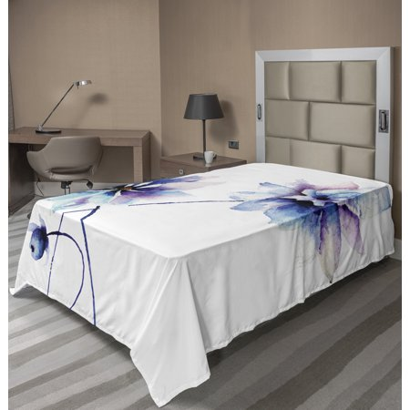 Watercolor Flower Flat Sheet, Flora Drawing Soft Spring Colors Retro Style Floral Artwork, Soft Comfortable Top Sheet Decorative Bedding 1 Piece, 6 Sizes, White Purple Blue, by Ambesonne Purple Flower Bead