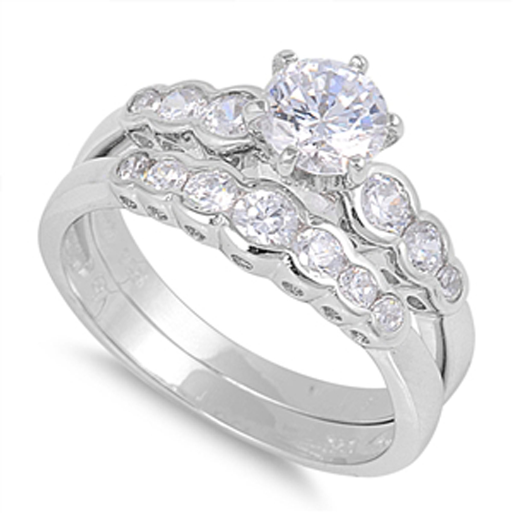 sterling silver wedding set engagement ring sizes 5 6 7