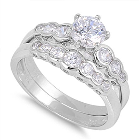 sterling silver wedding set engagement ring sizes 5 6 7 8 9 10 11 12