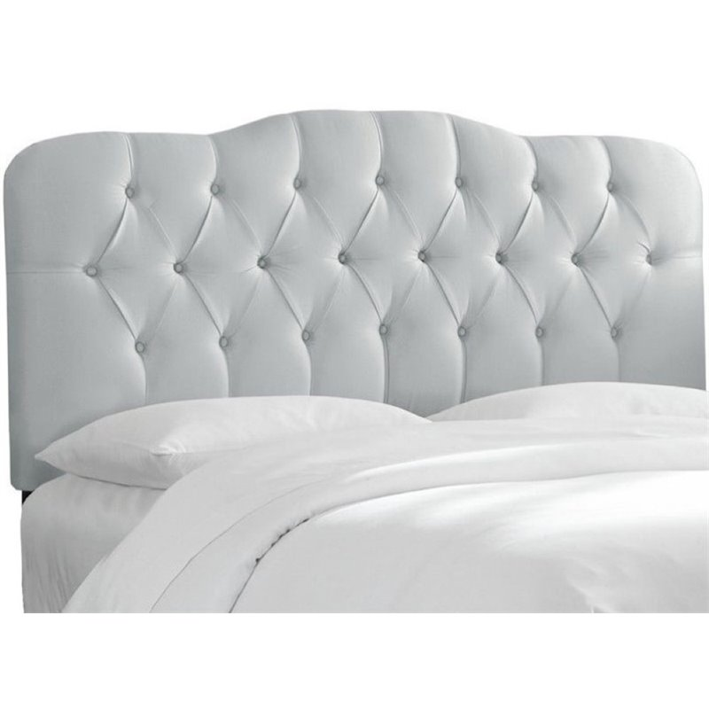 Pemberly Row Upholstered Queen Tufted Panel Headboard in Silver