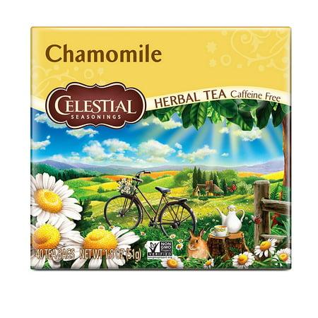 (2 Pack) Celestial Seasonings Herbal Tea, Chamomile, 40 Count Cozy Chamomile Herbal Tea