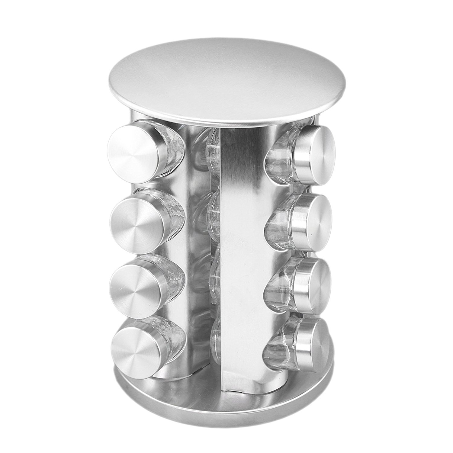 Round Revolving Stainless Steel Spice Tower Rack Carousel...