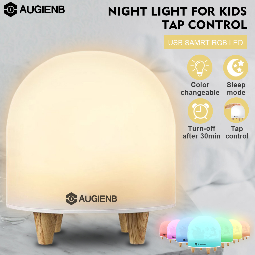 AUGIENB Tap-Control RGB USB Rechargeable Table Desk motorcycleaccessorie Desktop LED Bedside Night Light Mood Lamp For Children Kids,Auto Turn Off,Color Change,Dimmable