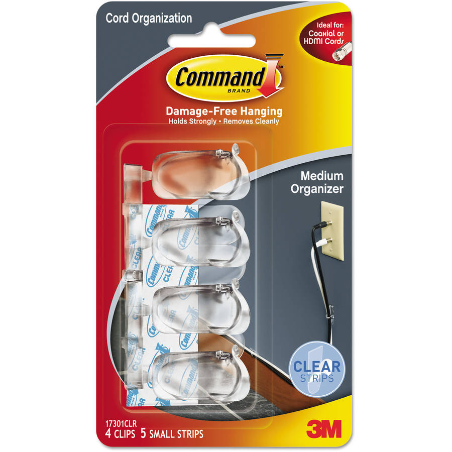 "Command Cord Clip, Medium, 3/8"" with Adhesive, Clear, 4-Pack"