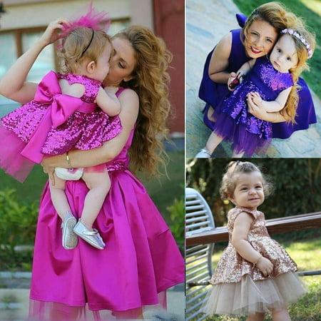 eea7be0d14e6 Kids Baby Girls Sequins Lace Dress Bowknot Party Wedding Bridesmaid Dresses  - Walmart.com