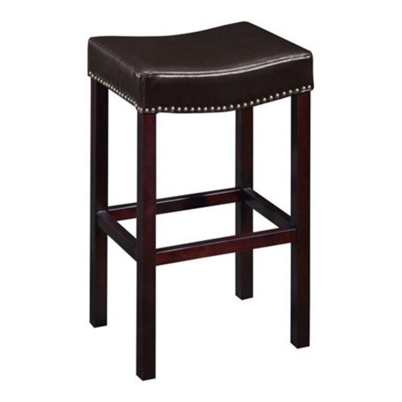 "Tudor Backless 30"" Stationary Barstool, Antique Brown Leather with Nailhead Accents"