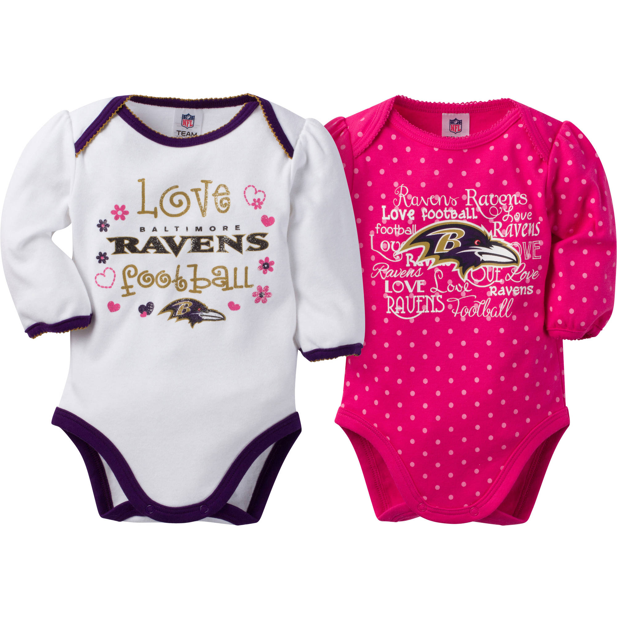 NFL Baltimore Ravens Baby Baby Girls Long Sleeve Bodysuit Set, 2-Pack