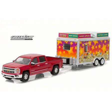 2015 Chevrolet Silverado w/ State Fair Concession Trailer, Red - Greenlight 32070 - 1/64 Scale Diecast Model Toy Car