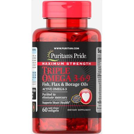 Puritan's Pride Maximum Strength Triple Omega 3-6-9 Fish, Flax & Borage Oils 60