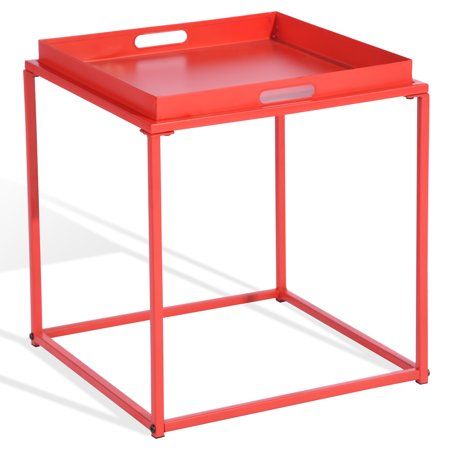 CAP LIVING 15.7-Inch Square Metal Tray End Table, Side Table, Colors Available in Matte Red and Matte Black](Red Table)