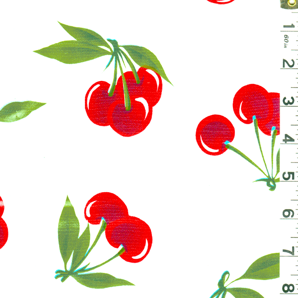 White Cherry Oilcloth, Fabric By the Yard