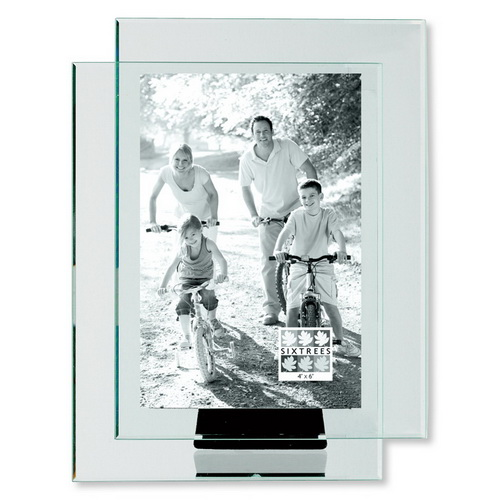 Sixtrees Double Glass Clear Photo Frame-4X6-vertical