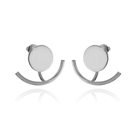Circle and Curved Bar Ear Jacket Earrings - Sterling Silver