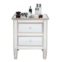 Zimtown Mirrored Nightstand 2 Drawer Modern Mirror End Table,Bedside Table for Bedroom, Living Room, Silver Rose