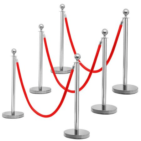 6 PCS Ball Top Stainless Steel Stanchion Posts w/ 6.5' Polyester Rope Silver - Stanchion Rope