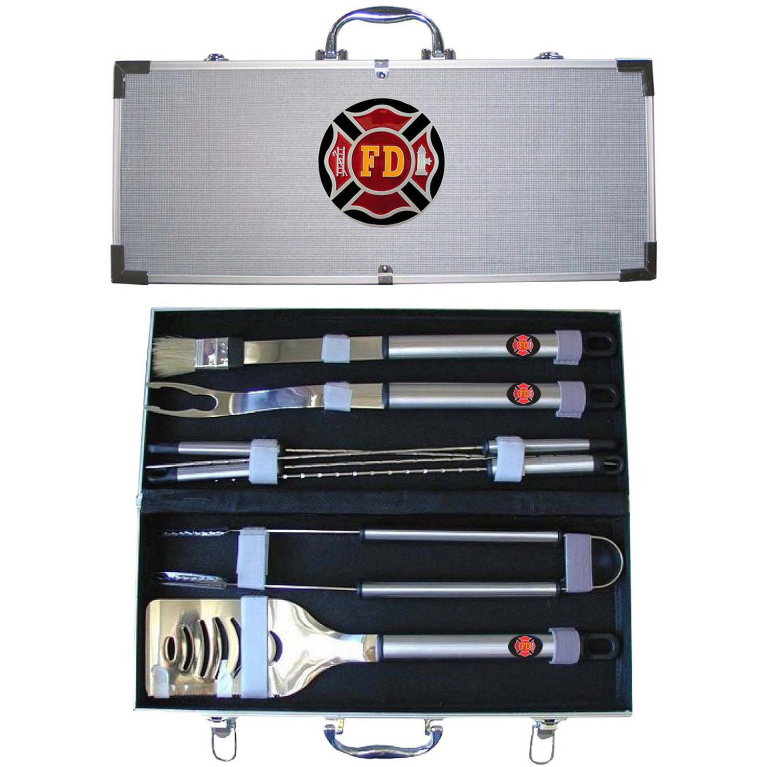 American Heroes 8-Piece BBQ Set with Hard Case, Fire Department