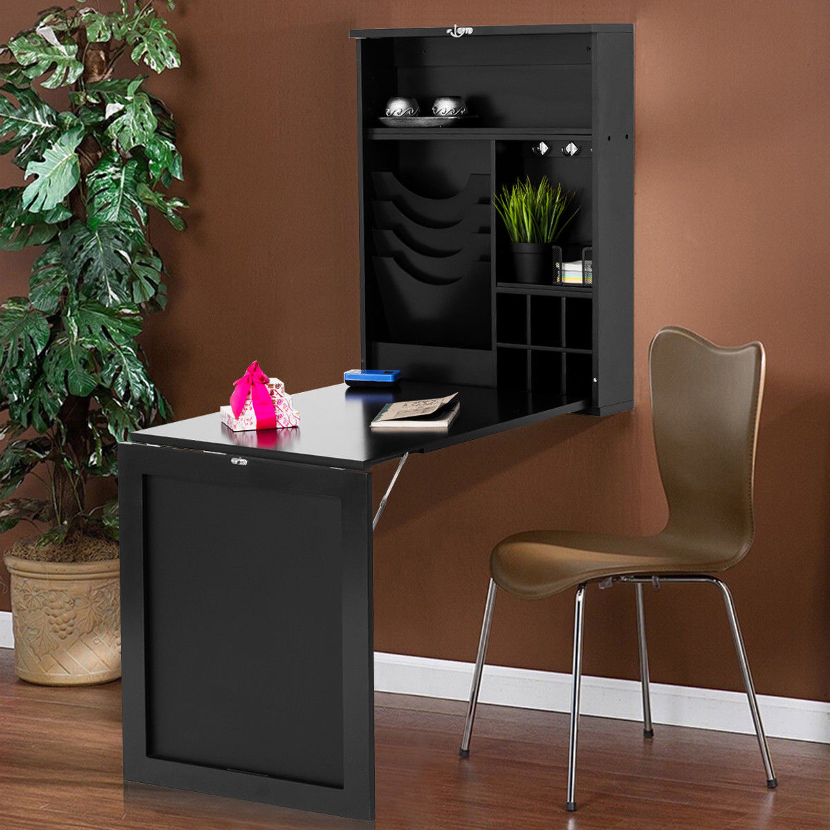 Costway Wall Mounted Table Convertible Desk Fold Out Space Saver Chalkboard  Black