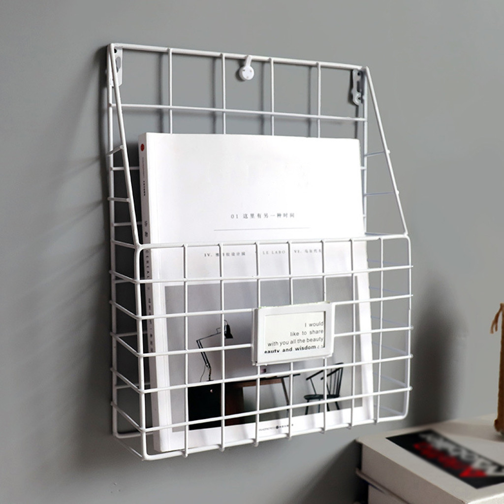 CJH Iron Wall Hanging Hanging Newspaper Rack Newspaper Rack Newspaper Rack Magazine Rack Shelf Childrens Picture Book Rack Brown