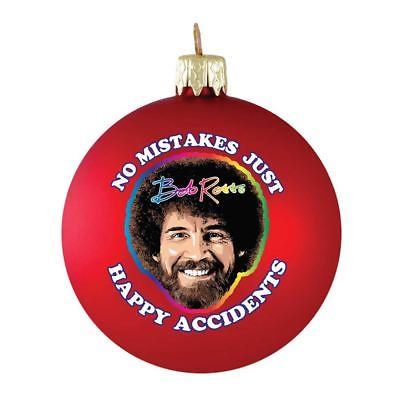 No Mistakes Bob Ross Glass Ball Christmas Ornament ()