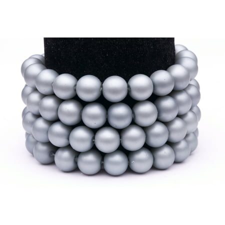 Silver Frosted Glass Pearls 12mm Round Sold per pkg of