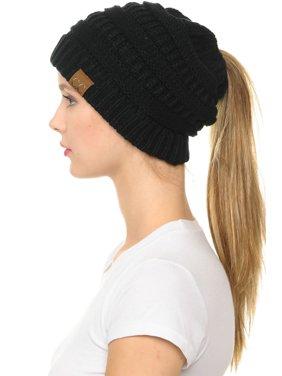C.C MB-20A Soft Stretch Cable Knit Warm Hat High Bun Beanietail Ponytail Beanie Black