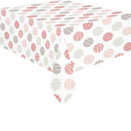 MYPOP Red Pink Grey Polka Dot Tablecloth Pink and White Sets 52x70 Inches - Colorful Polka Dot Print Tablecover Desk Table Clothes Cover for Dinner Party Decoration