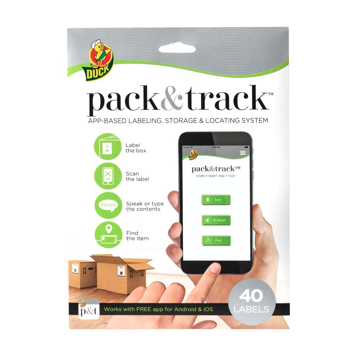 Duck Brand Pack & Track Moving and Storage Labeling System, 3 x 4 in., 40-Count