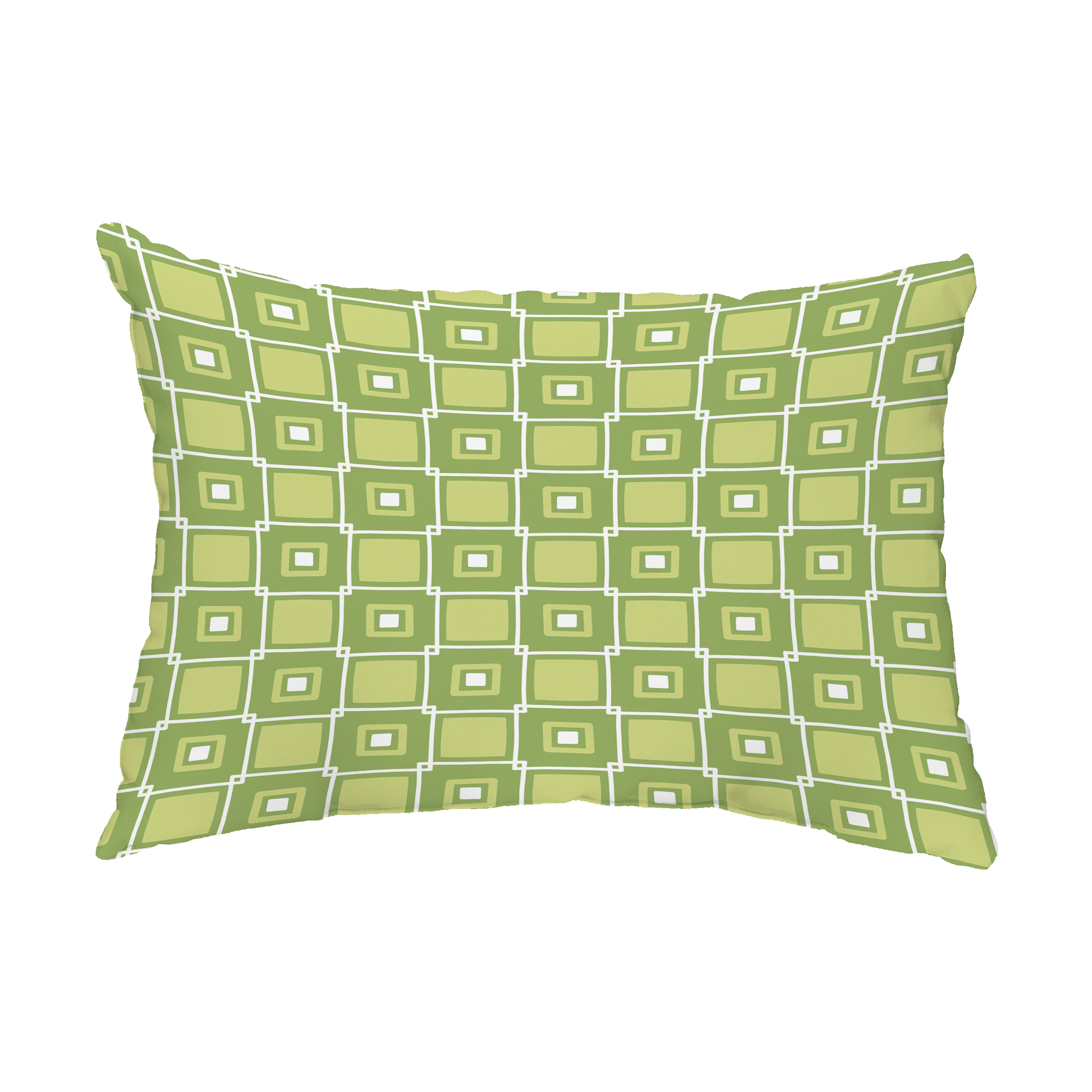 Square Pop 14x20 Inch Green Decorative Abstract Outdoor Throw Pillow