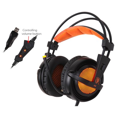 - SADES A6 Gaming Headphone with Mic USB Professional Over Ear Stereo Gaming Headset with LED Noise Cancellation & Wonderful Sound Effect Music Earphones Black with Orange for Desktop Notebook Laptop
