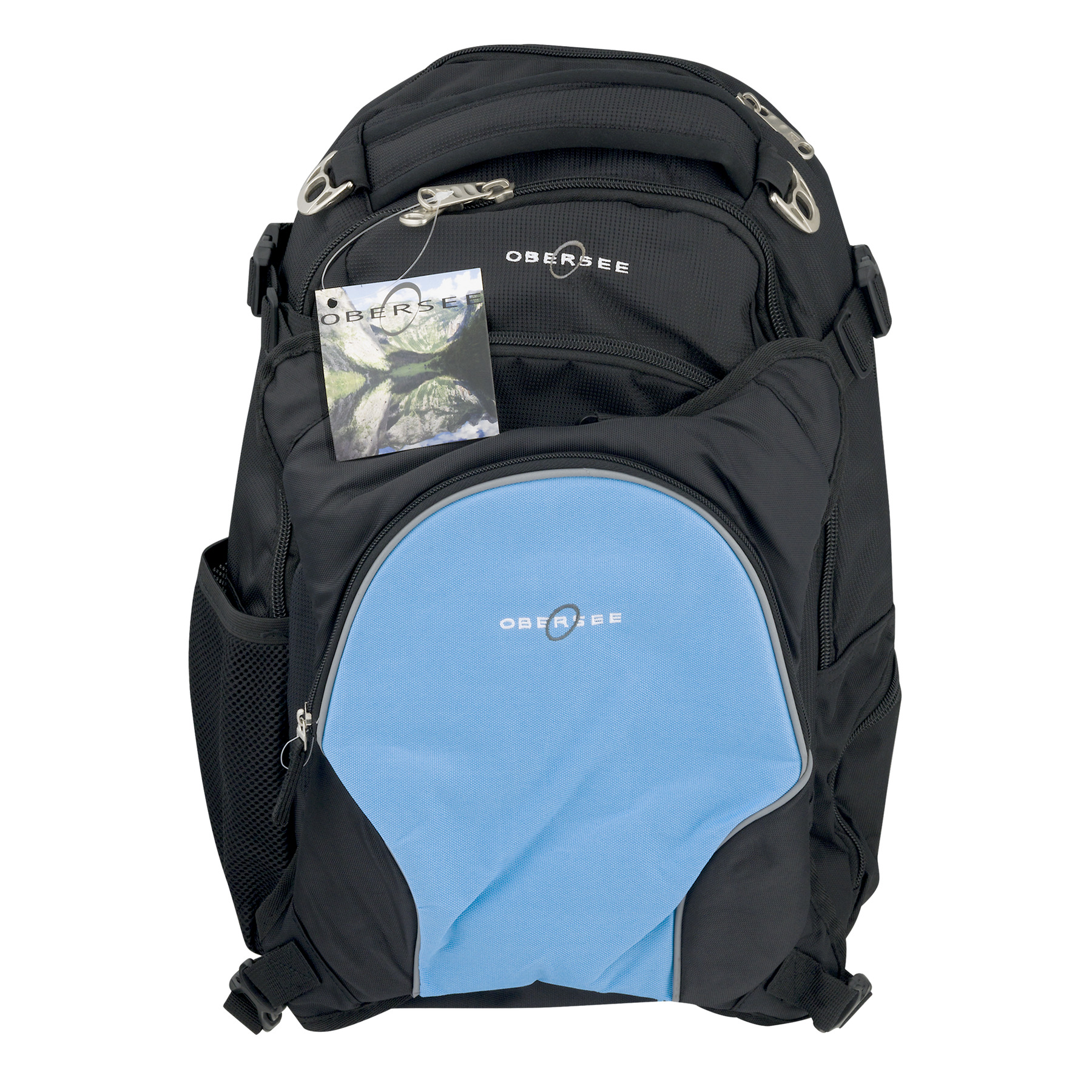 Obersee Oslo Diaper Bag Backpack With Cooler Black/Cloud, 4.0 CT