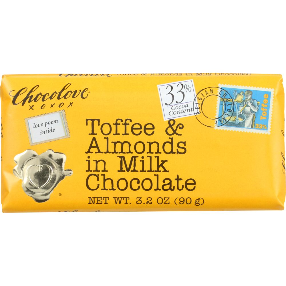 Chocolove Toffee And Almonds In Milk Chocolate, 3.2 Oz (Pack Of 12) by