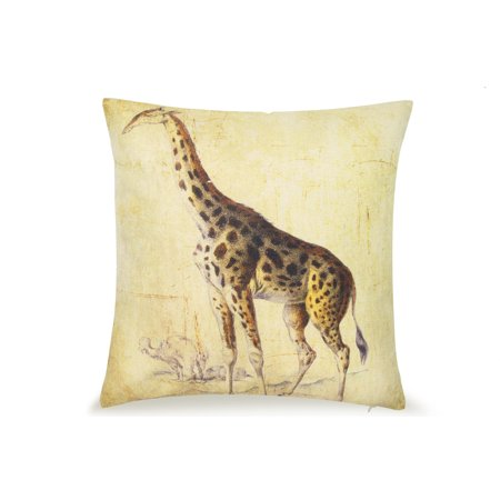 - Pal Fabric Blended Linen Animals Square Safari Africa Nature Giraffe 18x18 Pillow Cover