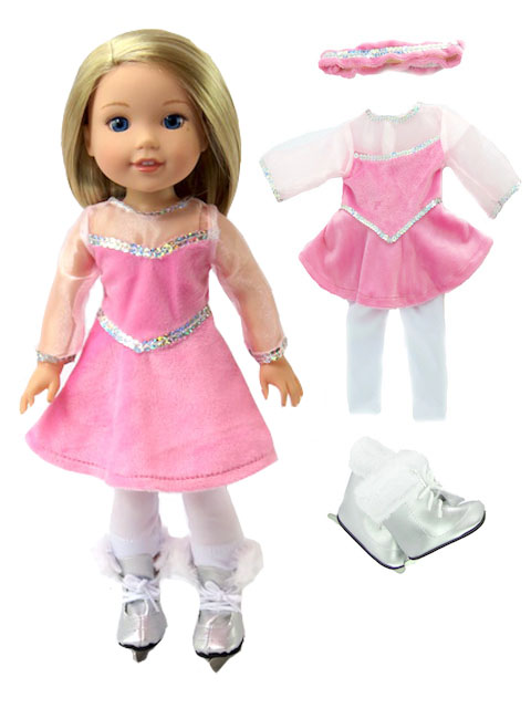 Little Pink Figure Skater with Skates-Fits 14 Inch Wellie Wisher Dolls | 14 Inch Doll Clothing by