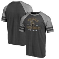 Vegas Golden Knights Fanatics Branded Timeless Vintage Arch Raglan T-Shirt - Heathered Black/Heathered Gray