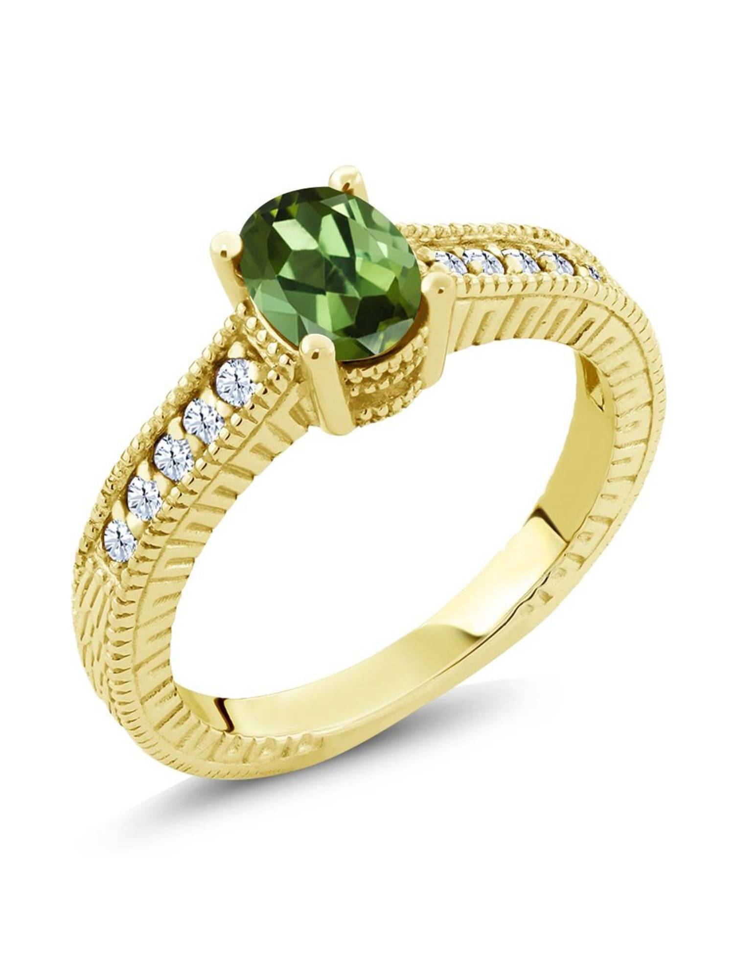 1.25 Ct Oval Green Tourmaline White Topaz 18K Yellow Gold Plated Silver Ring by